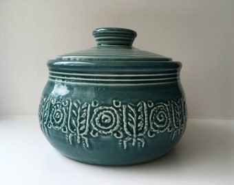 Crown Devon England turquoise teal blue lidded cooking pot tureen serving hot pot 1960s casserole dish vintage retro kitchenalia cookware