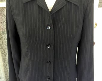 Vintage 1980's Black Pin Stripe Dress with Jacket Size 8 Classic Look