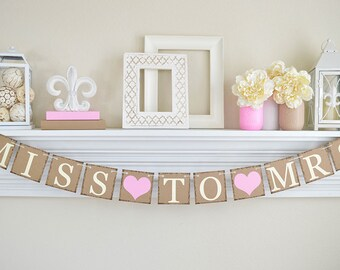 Miss To Mrs Banner Pink Bridal Shower Decorations Rustic Cotton Candy