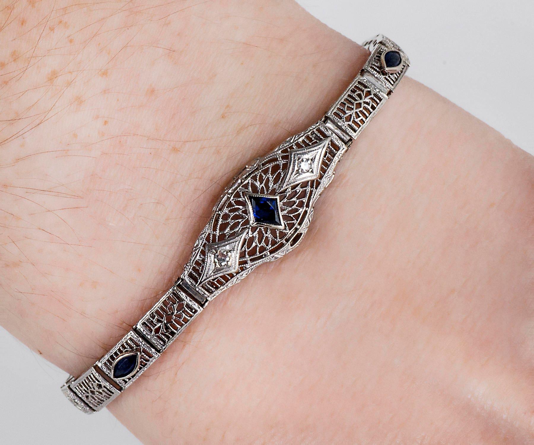 Antique Bracelet Antique Edwardian 14K White Gold Diamond