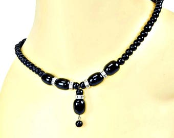Black Glass Bead Dangle Necklace with Rhinestone Rondelles