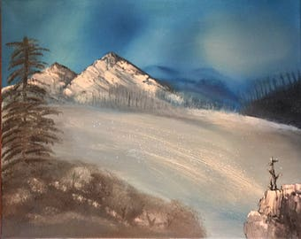 Sparkling Ice - oil painting 16 x 20 inches canvas (Nature, Landscape)