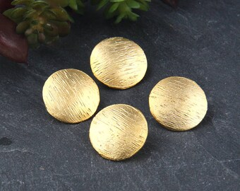 Gold, Textured Buttons for Wrapped Bracelet, Button Clasp, 4 pieces // GF-174