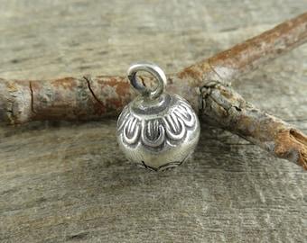 Thai Hill Tribe Fine Silver Bell - QUANTITY DISCOUNT Ten- Lotus Blossom Fine Silver Bell - Thai Silver Findings - Thai Bell - TB510Q