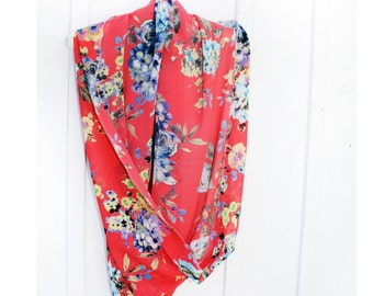 Spring, spring Scarf, Scarf, Scarves, Infinity Scarf, Orange Scarf, accessories, Gift for her,  Floral Scarf, Floral, Floral Infinity
