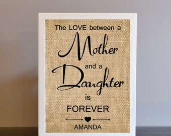 "Personalized Gift from Daughter-""The Love Between Mother & Daughter is Forever"" - Burlap Print, Mother's Gift, Christmas Gift For Mom-8M"