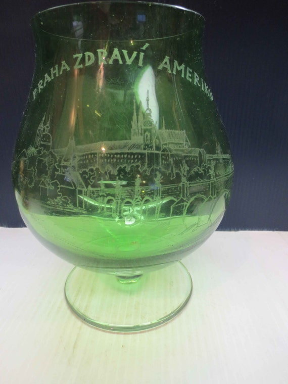 Large Green Glass Brandy Snifter Vase