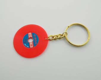 Vintage Vinyl Keychain in Red