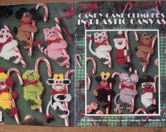 vintage 1994 plastic canvas patterns Candy Cane Climbers children goody bag party treats pig mouse Santa reindeer polar bear cat toad more
