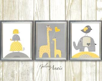 Yellow gray nursery elephant nursery giraffe bird turtle Nursery art print - baby boy nursery decor print Kids art Set of three prints