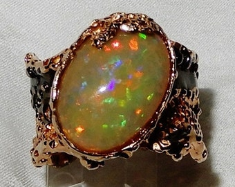 Opal Ring, 18ct AAA+ FULL FIRE Honeycomb Opal stone, 14kt Rose Gold, Black Rhodium Ring Size 10
