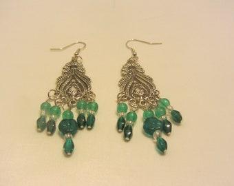 Bohemian Earrings/Boho Jewelry/Boho Chandelier Earrings/Bohemian Jewelry/Silver and Emerald Green Dangle Earrings/Gift for Her