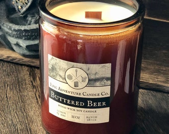 BUTTERED BEER Candle | Wood Wick, Soy | Amber Cork Jar | Huffpo.com Gift Guide for Harry Potter Fans | Book Geek Fandom | like Butterbeer