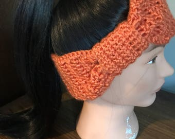 Crocheted Women's Winter Headband, Womens Ear Muffs, Orange Headband, Womens Ear Warmers, Winter Gear, Crocheted Ear Muffs