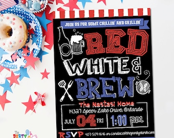 4th of July Invitations | Printable Fourth of July Party Invitation | Chalkboard Beer and Barbeque BBQ Invitation | Red White and Brew, Blue