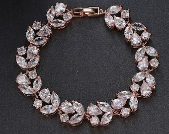 cz bridal bracelet, bridal jewelrr, rose gold crystal bracelet- angelique style