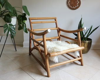 Mid Century Ficks Reed Style Bamboo Rattan Arm Chair