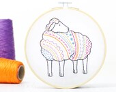 Sheep Embroidery Kit - Embroidery Design - Nursery Decor - Hand Embroidery - Hoop Art - DIY Kit - Modern Embroidery - Adult Craft Kit