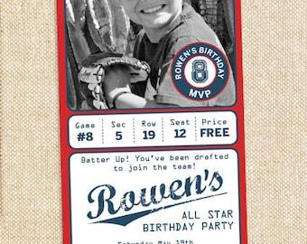 Baseball invitation with photo - digital file