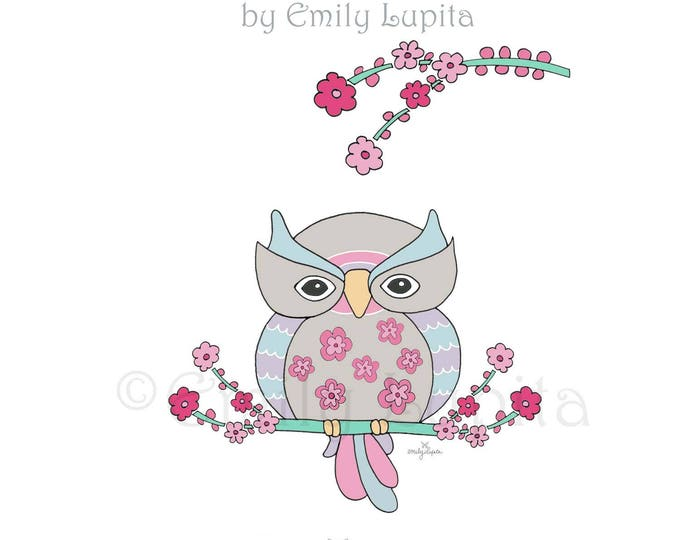 "Illustration Art Print ""Wise Owl"" / Bird Portrait Wall Art / Nursery New Baby / Baby Shower Gift / Animal Artwork"