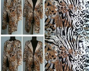 Ponte brei stof Jersey gebreide stof Franse terry stof door de werf Сolorful trui Cardigan Stretch stof tijger print stof breien