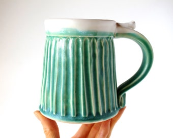 Coffee Mug, READY TO SHIP, Tea Mug, Handmade, Wheel-thrown and Dipped, White Stoneware Clay by Hope Fregerio