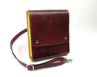 Medium Leather Messenger Bag v2.1 - Burgundy & Yellow - CLEARANCE -