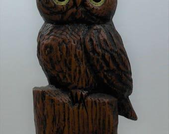 Vintage Folk Art Owl Sculpture