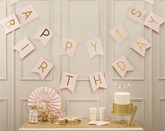 1'st.Pink Happy 1st Birthday Bunting, Baby Girls 1st Birthday Decor, Girls Party Decor, Pink 1st Birthday Banner