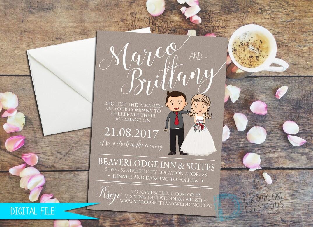 cartoon wedding invitation bride groom cartoon cartoon