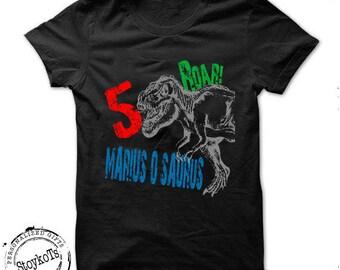 Dinosaur shirt for kids personalized birthday gift dino tshirt 5th 1st, 2nd, 4th, 6th any birthday t-rex theme party shirts boys, girls