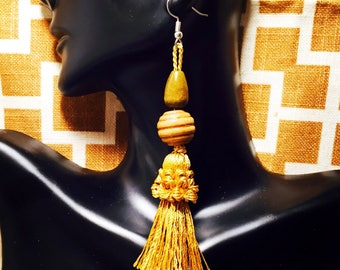 Wooden Beaded Tassel Earrings Mustard