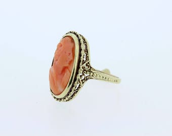 Filigree Pink Carved Cameo Ring in 14K Yellow Gold