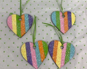 Glitter Rainbow Wooden Ornaments Set Of 4 New