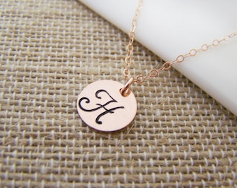 Rose Gold Filled Stamped Initial Disc Monogrammed Necklace / Gift for Her