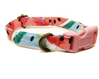 Melon Drop - Tropical Light Blue Pink Playful Watermelon Summer Vintage Organic Cotton CAT Collar - All Antique Metal Hardware