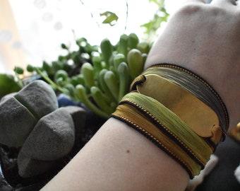 Custom Brass Bracelet- Personalized Silk Wrap- Metal Bracelet Hand Stamped Brass- Yellow Green Silk Wrap Bracelet