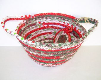 Christmas basket  coiled rope clothesline basket with handles fabric basket  trinket holder  Christmas decor red green white. CH2