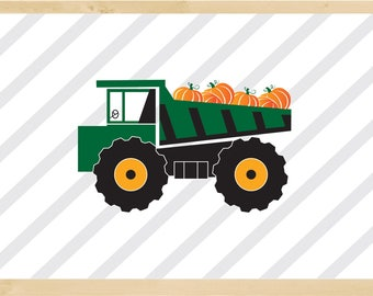 Little Green Truck with Pumpkins for a Boy, Truck Art Decor, Green Truck Poster, Printable Truck, Pumpkins Truck, Green Truck for Nursery