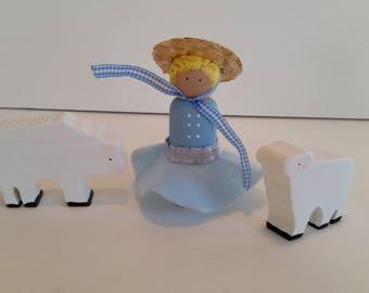 Little bo Peep peg doll play set