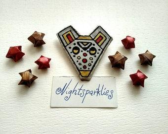 polymer clay brooch, tribal ethnic brooch, bear brooch, handmade art brooch, clay art brooch, glossy brooch, handmade wearable art jewelry