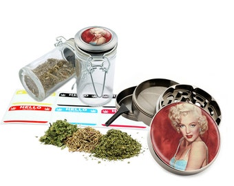 "Marilyn Monroe - 2.5"" Zinc Alloy Grinder & 75ml Locking Top Glass Jar Combo Gift Set Item # 50G012516-23"