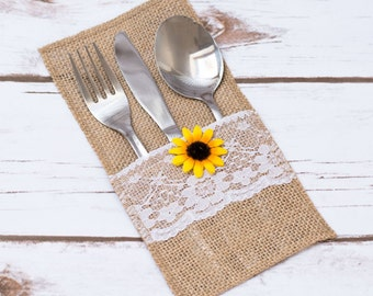 Burlap Silverware Holder Sunflower Rustic Wedding Table Lace Burlap Decor Burlap Holder Flatware Holder Wedding Set Cutlery Holder Set of 10