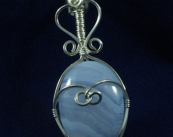 Blue Lace Agate wrapped in sterling