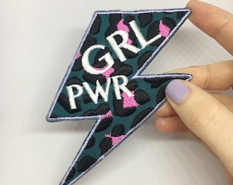 GRL PWR iron on patch / feminist embroidery / riot grrrl badge / leopard print / girl power / smash the patriarchy
