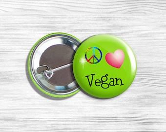 "Vegan Vegetarian ""Peace Love Vegan"" Pinback Button Pin 1.75"" Green"