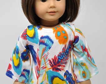 Feather Print  Bell Sleeve Dress     18 Inch Doll Clothes