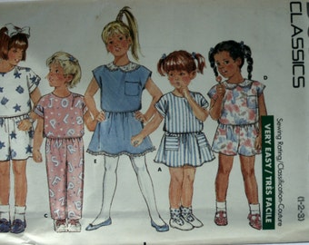 Butterick 6262 Girl's Skirt Sewing Pattern - Girl's Top Sewing Pattern - Girl's Shorts - Pants Sewing Pattern - New - Uncut - Size 1-2-3