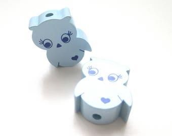 Little OWL - soft blue wooden bead