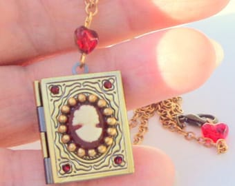 Hand Crafted, Vintage Cameo, Book Locket, Edwardian Fantasy, Neo Victorian, Locket Necklace, Gothic Jewelry, OOAK